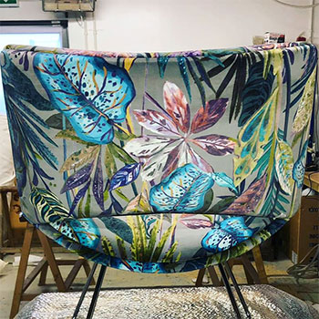 Victoria Gayle Interiors upholstered flower and leaves fabric